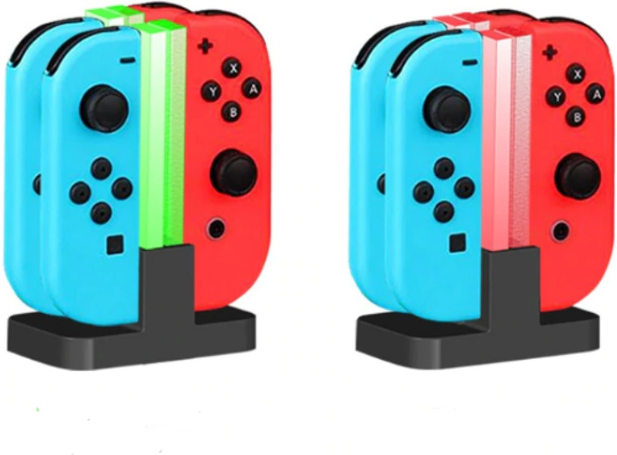 Nintendo Switch Oplaadstation - Nintendo Switch Docking Station - Joy-Con Controller Lader - 4 in 1 Oplaadstation - Snel Opladen - LED Verlichting - Zwart