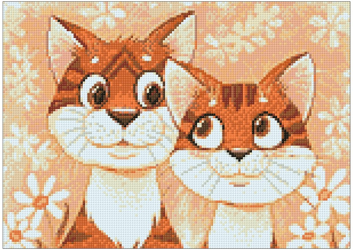 Wizardi Diamond Painting Kit Cats in Love WD192