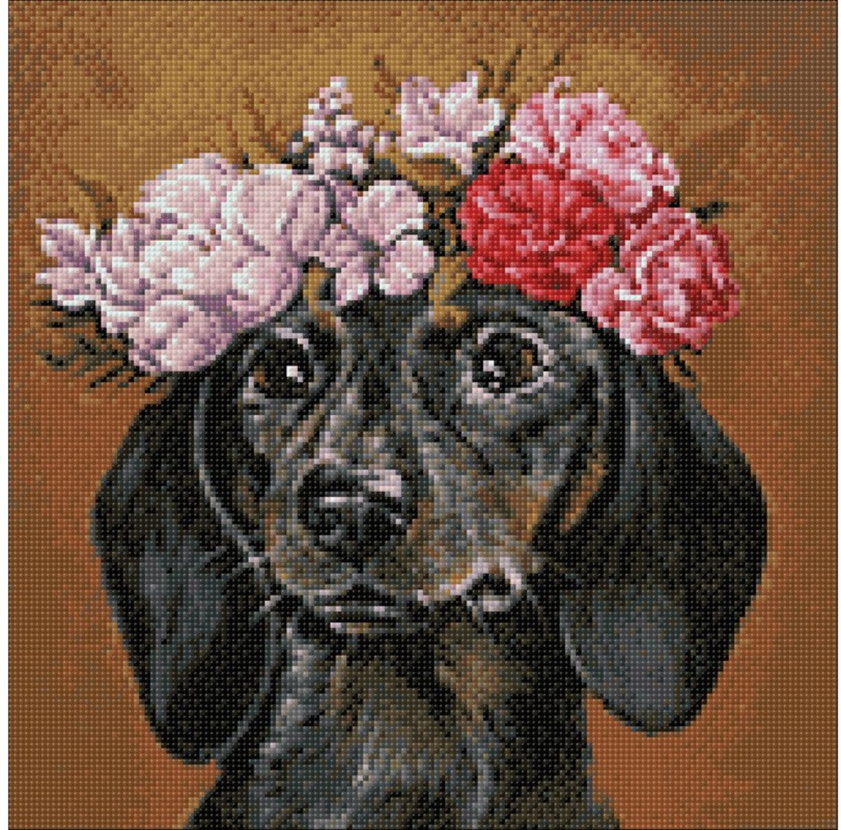 Wizardi Diamond Painting Kit Dachshund in Flowers WD2465