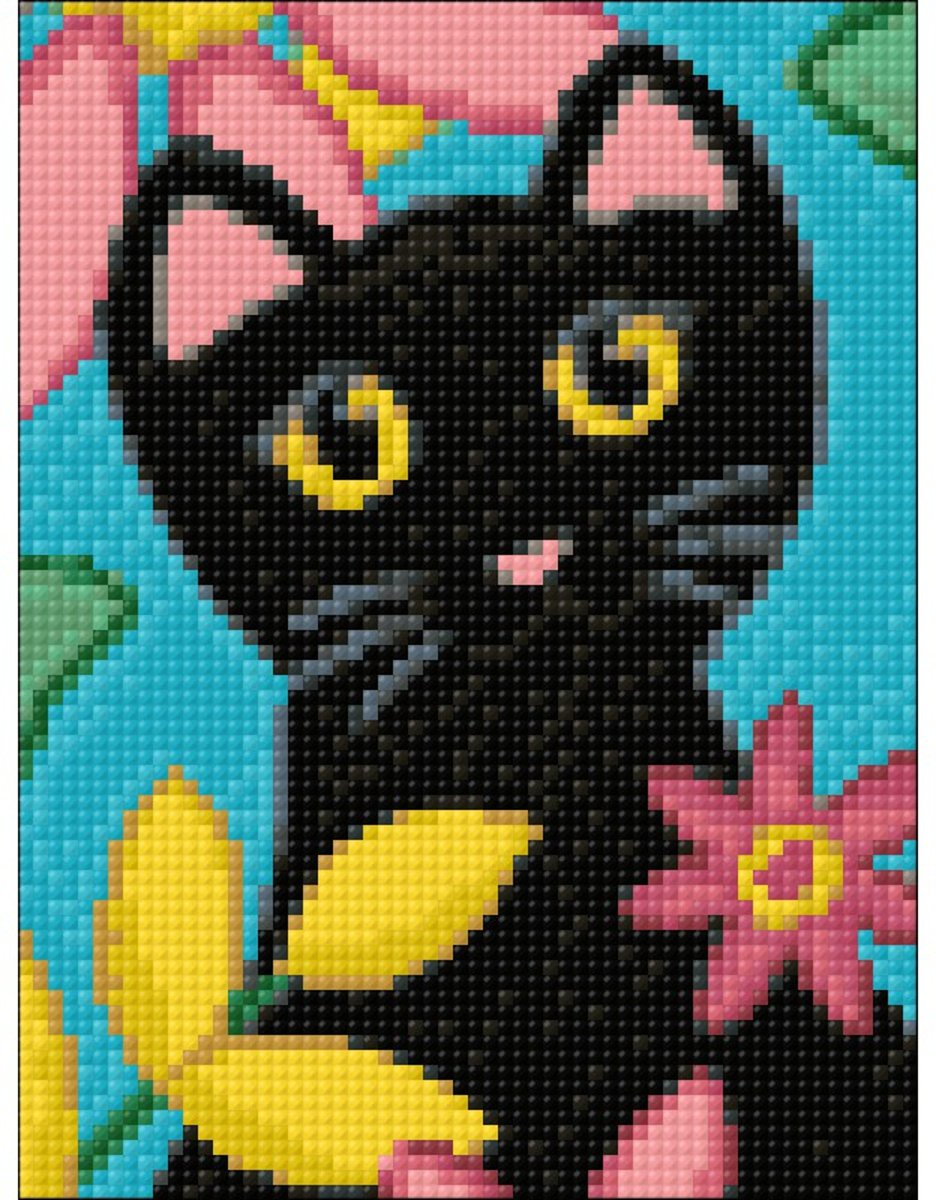 Wizardi Diamond Painting Kitty and Flowers WD2359