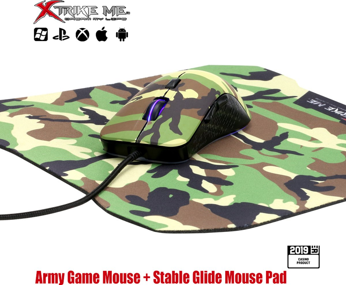 Gaming Combo Set 2in1 - Army Gaming Muis 3200 DPI RGB LED Optische Muis + Army Gaming Fiber Muismat 287 x 244 x 3 mm - GMP-505