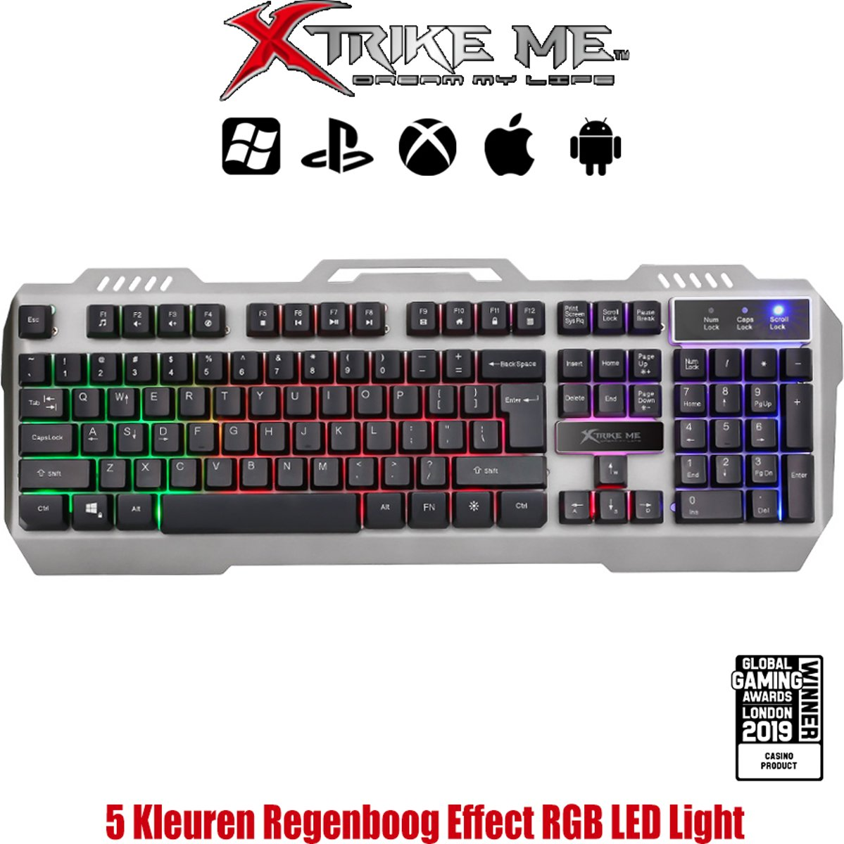 Gaming Qwerty Multimedia Toetsenbord Programmeerbaar RGB LED Rainbow Backlit - GK505