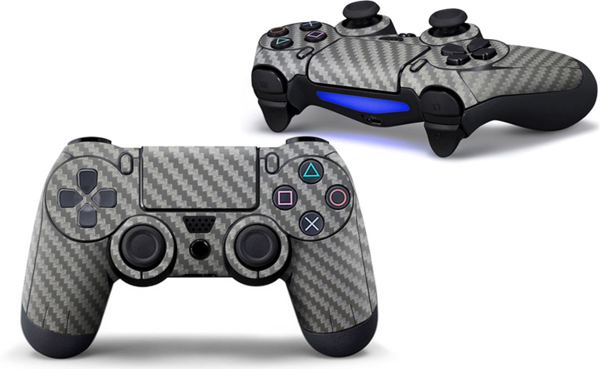 Camouflage Skin voor Playstation 4 Controller - PS4 Controller Sticker – Carbon Grijs