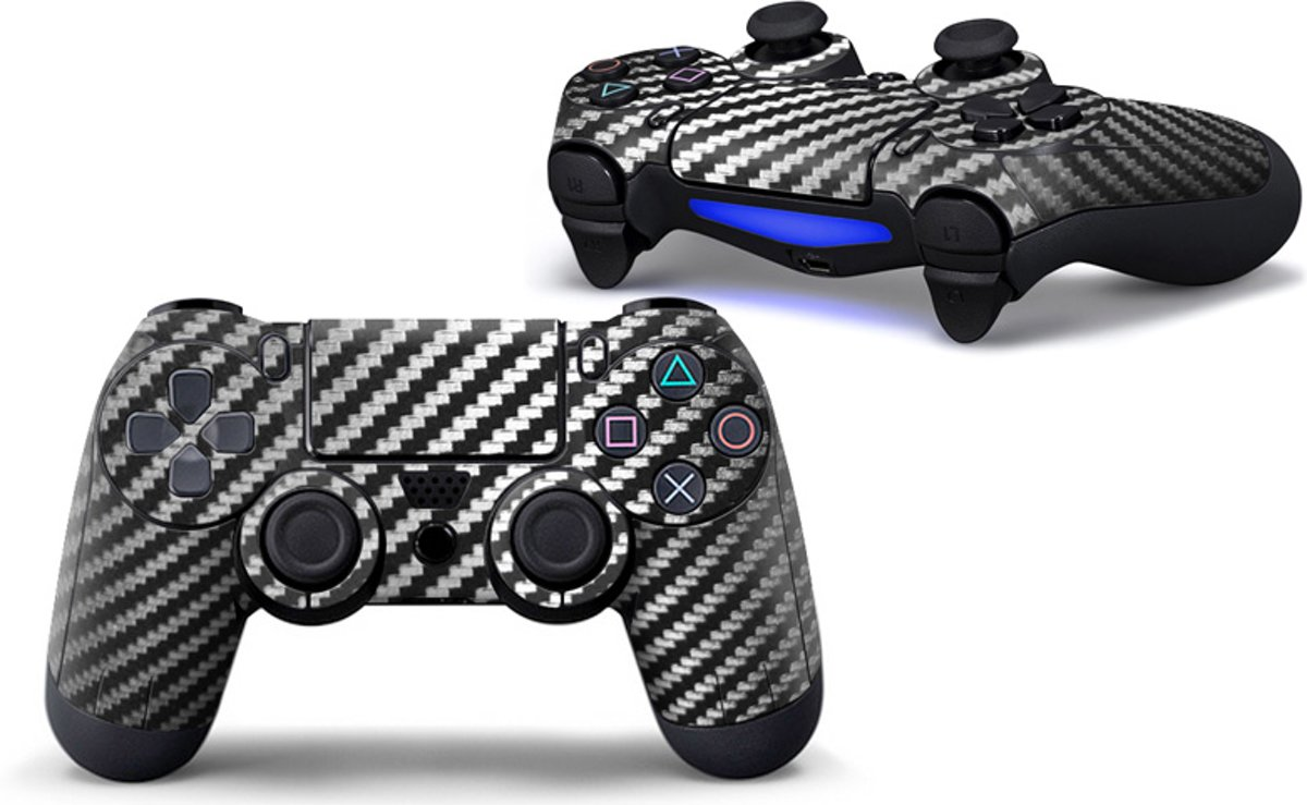 Camouflage Skin voor Playstation 4 Controller - PS4 Controller Sticker – Carbon Zwart