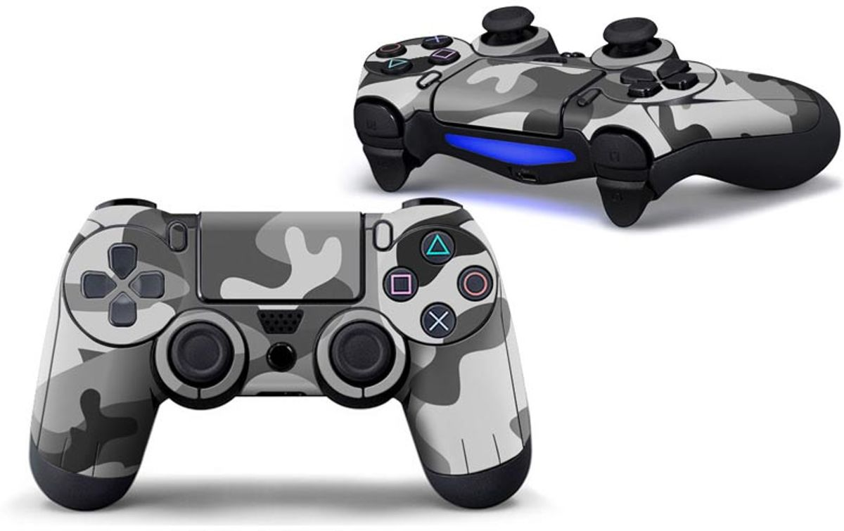Camouflage Skin voor Playstation 4 Controller - PS4 Controller Sticker – Wit