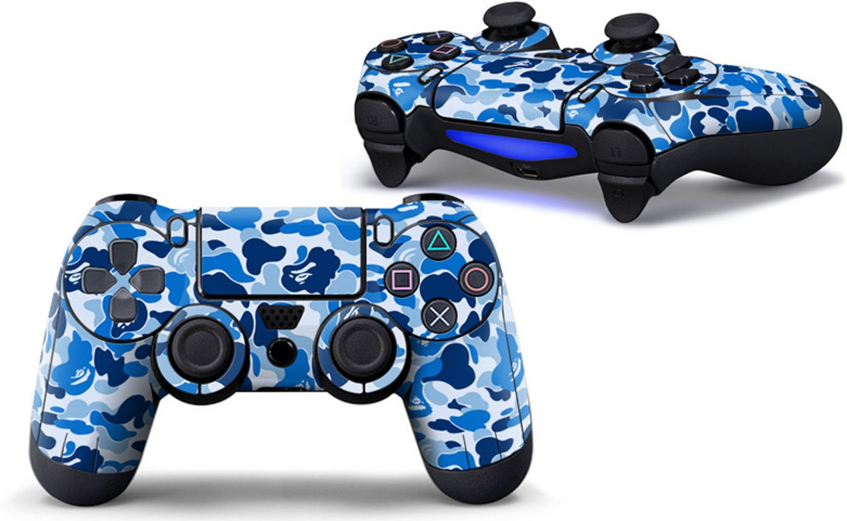 Camouflage Skin voor Playstation 4 Controller - PS4 Controller Sticker - Blauw
