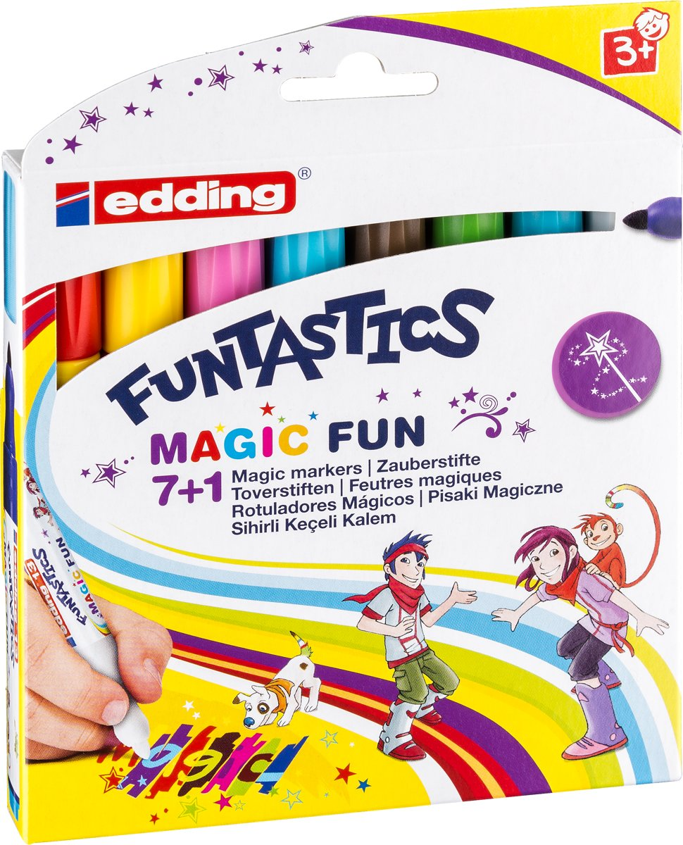 13 Funtastics Magic Fun kinderviltstift. Set van 8 kleuren.