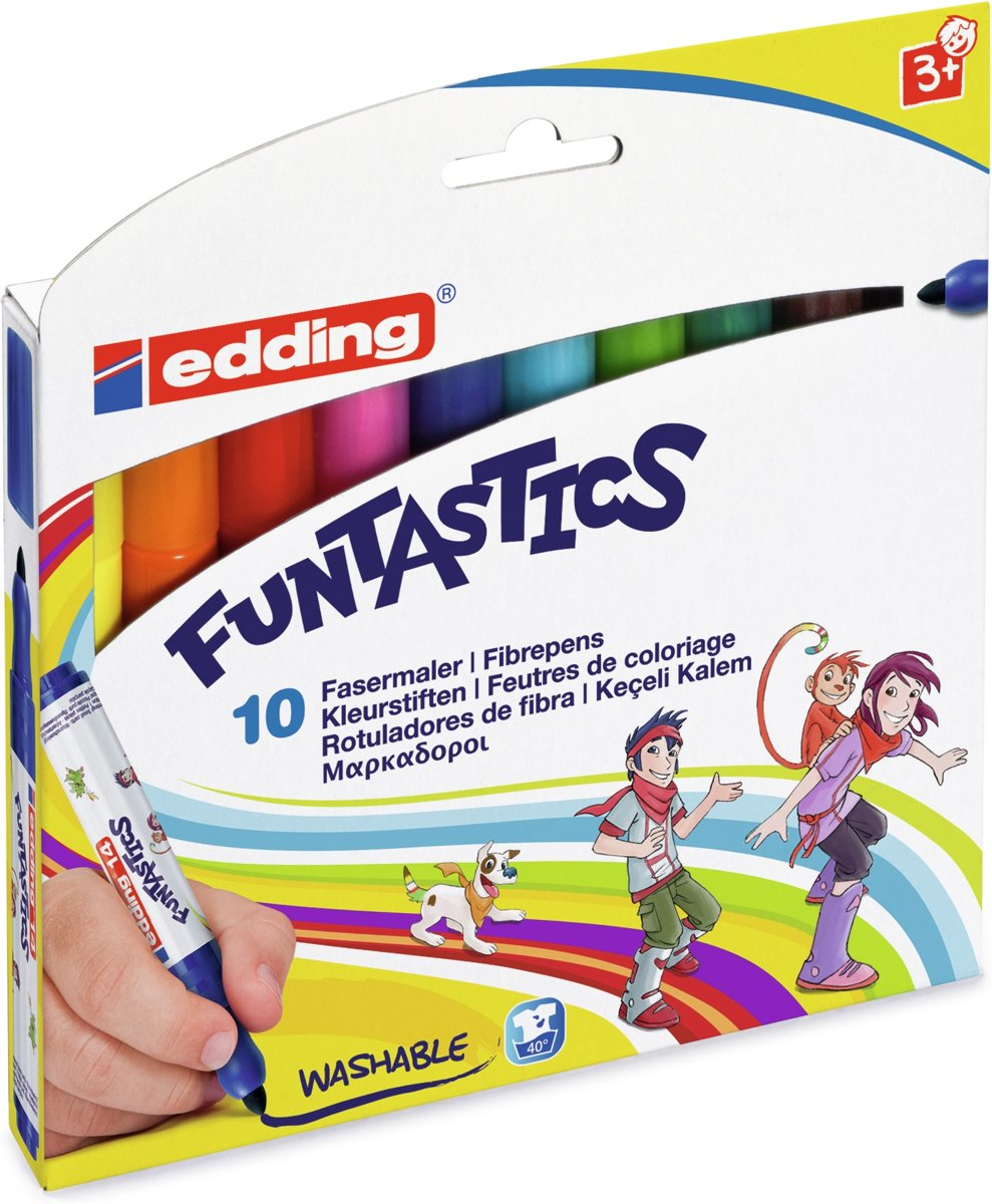 14 Funtastics kinderviltstift 3 mm. Set van 10 kleuren.
