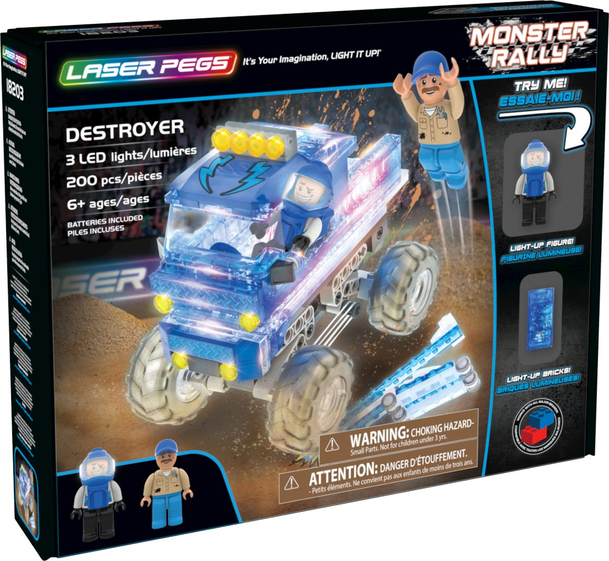 Laser Pegs Monster Truck Destroyer Blauw - Constructiespeelgoed