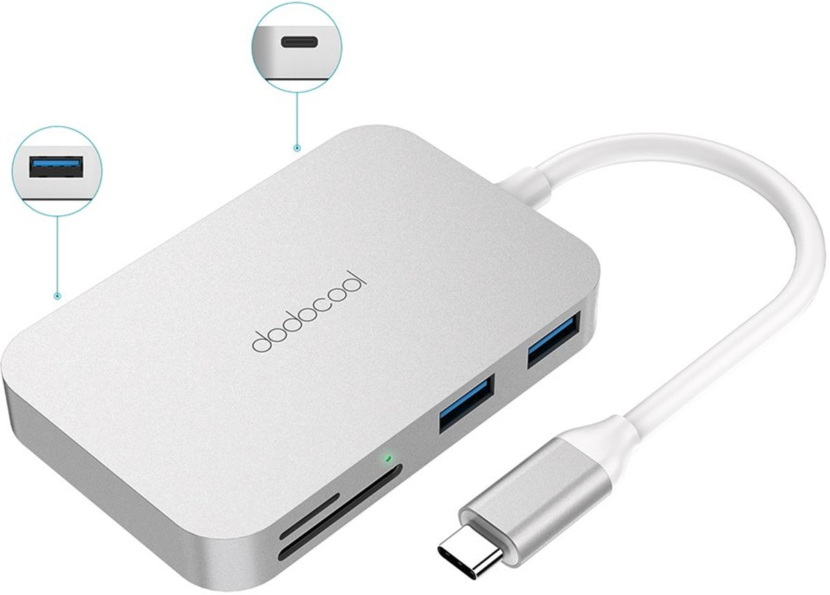 Dodocool DC49 USB-C Adapter /  | Met Thunderbolt 3 & Micro SD | 6-in1 | voor Apple MacBook Pro | 20172018
