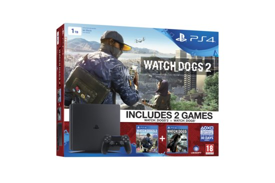Sony Playstation 4 Slim Watch dogs 1 & 2 Console 1TB - Zwart PS4 -