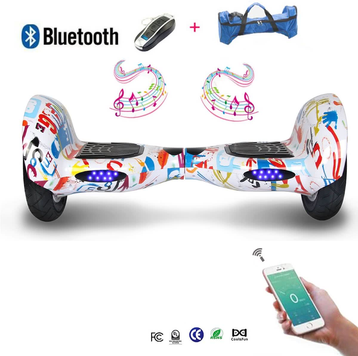 COOL & FUN Hoverboard Bluetooth, Elektrische Scooter Zelfbalanserende, gyropod verbonden 10 inch hiphop / graffiti design