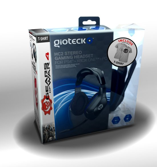 HC2 - Gaming Headset + Gears of War 4 T-Shirt - Maat L - Grey Omen - PS4 + Xbox One + PC - PlayStation 3