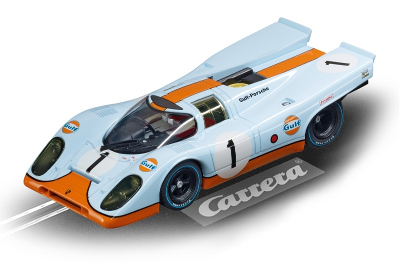 Carrera Digital 132 racebaan auto Porsche 917 Gulf Racing No.01 wit