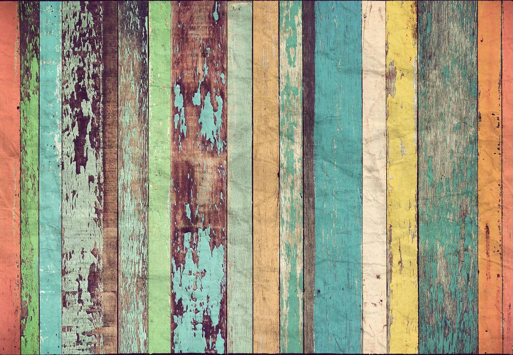 Fotobehang - Colored Wooden Wall - 366 x 254 cm - Multi