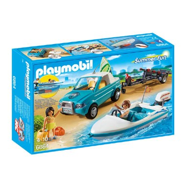 PLAYMOBIL Summer Fun pick-up met speedboot met onderwatermotor 6864