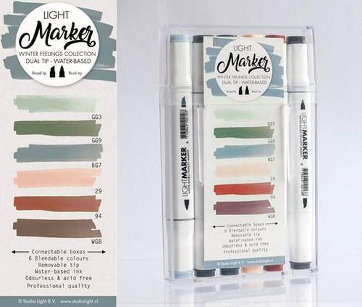 Winter Feelings - Box 6 water based dual tip markers bright