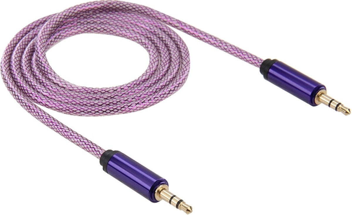 3,5 mm Male-Male Plug Jack Stereo Color Mesh Audio AUX-kabel voor iPhone, iPad, Samsung, MP3, MP4, geluidskaart, tv, radio-recorder, enz. Kabellengte: ongeveer 1m (paars)