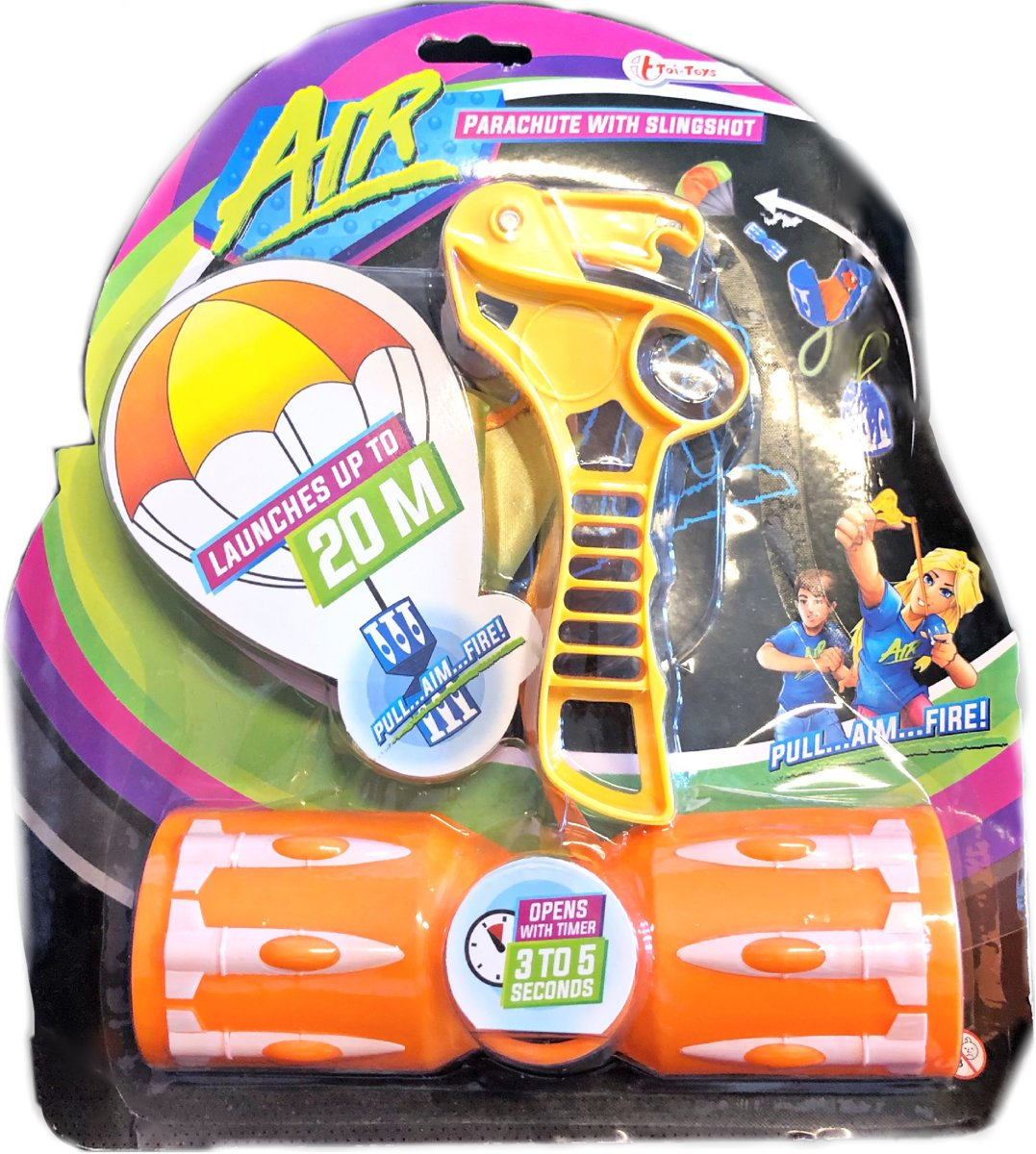 Toi-toys Air Parachute with Slingshot - Schiet speelgoed